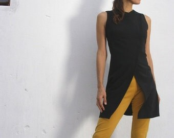 Sale The WOMAN WARRIOR TUNIC- Black Womens tunic--Asian style vest/ jacket-Womens vest-Office fashion- plus size -