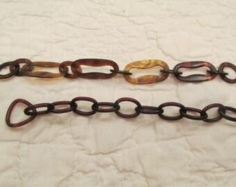 2 Vintage Celluloid linked Chain Destash SALE