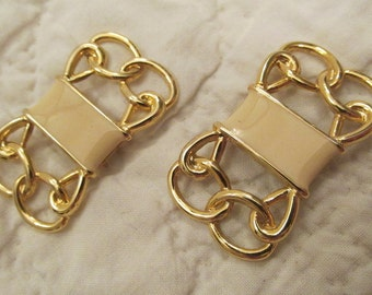 Vintage Shoe Clips Creme Enamel on gold tone metal