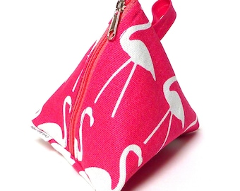 Triangle coin purse, cosmetic bag, gadgets bag, party gift in a bright pink flamingos fabric