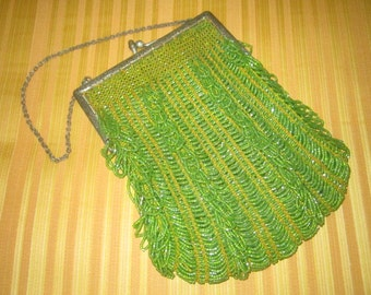 Vintage 1920s Art Deco Beautiful Lime Green Glass Beaded Flapper Purse