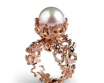 ON SALE - CORAL Black Diamond Ring, Rose Gold Engagement Ring, Pearl Engagement Ring, Rose Gold Pearl Ring, Black Diamond Rose Gold Ring Ban