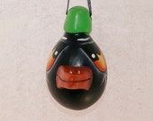 Egg  Gourd Crow Ornament, Haunted Halloween Gourd Ornament  (212)