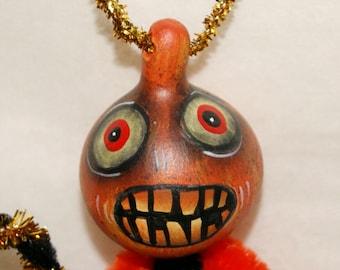 Gourd Ornament OOAK Orange Jol  Haunted Halloween Ornaments (A 11)