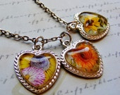 Three Pendant Necklace-silver, sunflowers, hearts, pink, orange, 30 inches or 76 cm