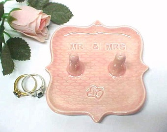 Pink Pottery Ring Dish, Double Post Mr Mrs His Hers Wedding Ring Holder, Gift for Bride, Ceramic Jewelry Storage Entwined Hearts Design
