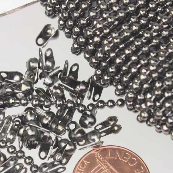 100 ft. spool of Gunmetal ROUND ball chain - 2.4mm ball size - with FREE 100pcs Connectors (Crimp type) - Ship from California USA