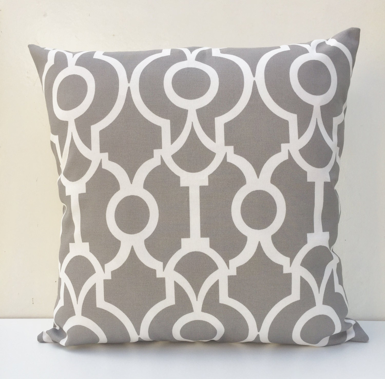 Outdoor Cushion Cover Grey & White Lattice Throw Pillow