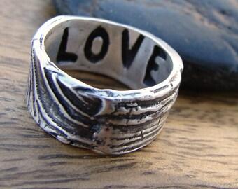 Sterling Silver Wood Grain Ring. Rustic Faux Bois Wedding Ring. OOAK Handmade Wedding Rings. Birch Bark Ring. Twig Ring