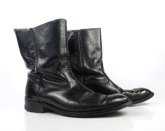 Acme Cowboy Boots Vintage 1970s Black Leather Roper Men's size 9 1/2 E