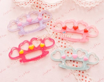 Hearts Knuckle Glitter Flat Back Cabochon - 4pc | Resin Cabochon Decoden Supplies Jewelry Making Flatback Resin Cabochon