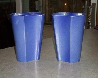 Art Deco pair vases Trenton Pottery TAC flambe blue porcelain VASE Trenton Art China New Jersey, circa 1930's