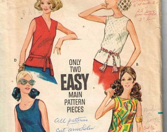 Vintage 1960s Sleeveless Blouse Round V Neckline Tank Top Misses Butterick 3318 Sewing Pattern Size 10 Bust 32.5