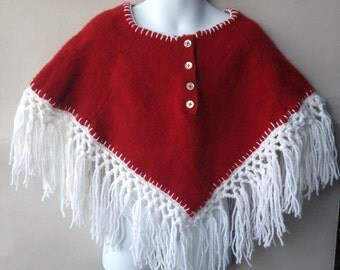 Red and White Poncho Size 3 to 7