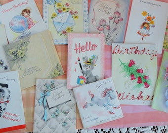 Little Cards Big Wishes for Vintage Birthday Card Lot No 115 Sweet Images Flowers Pastels Lot of 14