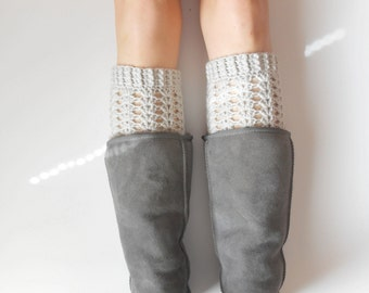 Textured Boot Cuffs in Ice Grey, crochet,  ready to ship.