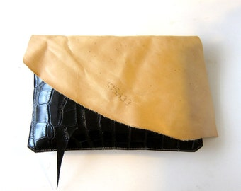 LEATHER Large Oversized Huge Clutch Bag Purse Shoulder Strap Cross Body - Raw Rustic with Raw Edge - Decorative Leather with Branding Marks