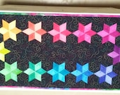 Quilted  Handmade Table Runner Reversible Hand Dye Batik Rainbow Quiltsy Idaho