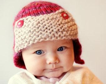 Baby Aviator Hat Knitting Pattern, Knit Aviator Hat PDF, Knit Baby Aviator Hat Download, Baby Hat Pattern, Baby Earflap Hat PDF - CURTISS