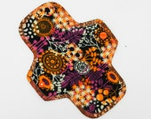 "8.5"" Pantyliner, Every Day Liner Made w Floral Skulls Cotton Flannel, Windpro Fleece, Reusable Cloth Menstrual Pad, MotherMoonPads Cloth Pad"