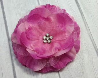 "CLOSEOUT-3.25"" Antique Rose Organza Jeweled Flower Clip-Flower Hair Clip"