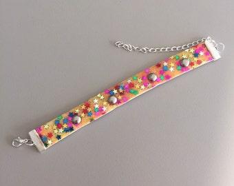 Vintage 1970s Girl's Glitter Metal Bead Bracelet in Yellow