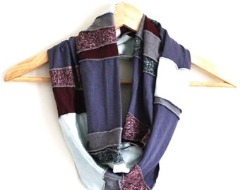 READY TO SHIP - Great Gift - Free Form Infinity Scarf - Eco Accessory - Organic and Upcycled Fabrics