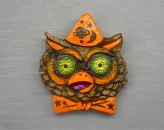 OWL HALLOWEEN MAGNET Handpainted Fridge Magnet Folk Art