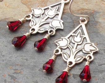 Garnet Sterling Silver Earrings -Tulips