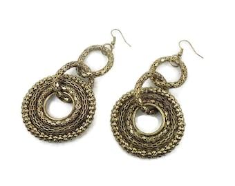 Boho Earrings, Big Statement, Vintage Pierced, Large Dangle, Ethnic Tribal, Long, Festival Jewelry, Retro Earrings, 1980s, 80s Jewelry
