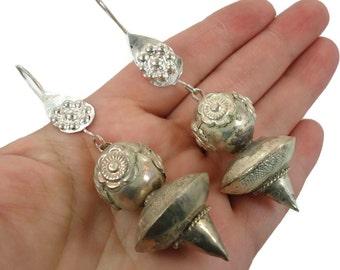 Boho Earrings, Silver Earrings, Unique, Afghan, Vintage Earrings, Kuchi Gypsy, Bohemian, Big Statement, Dangle Long, Belly Dance