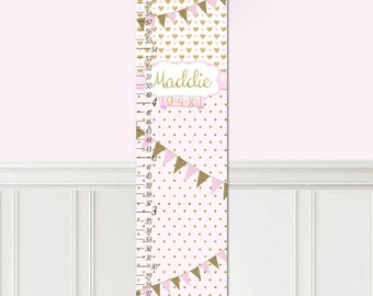Kids Canvas GROWTH CHART Soft Pink Gold, Dots and Bunting Kids Bedroom Baby Nursery Wall Art Growth Chart GC0291