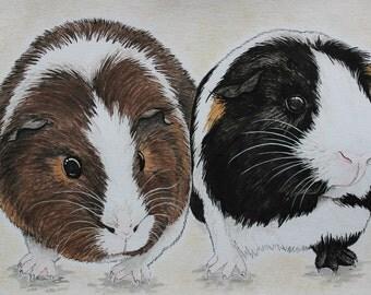 5x7 Custom Watercolor Pet Portrait (Portrait of TWO Guinea Pigs)