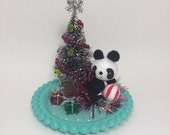 Panda Party - Handmade Holiday Kitschmas Decoration Bottle Brush One of a Kind