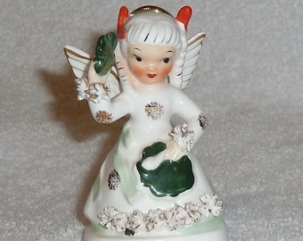 Vintage Napco Birthday Angel March St. Patrick Day Shamrock 1950s Figurine Green White