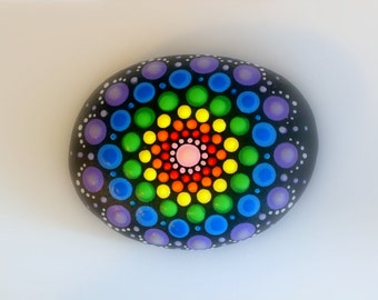 Boho chic-bohemian dot art-Holiday gift idea-college dorm decor-mandala stone-painted rock-crystal rainbow-ooak 3D polka dot art-pointillism