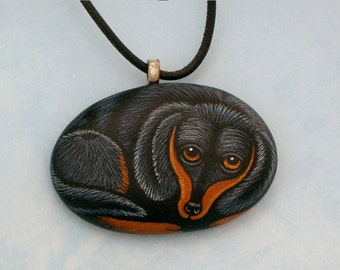 Pet portrait-Dachshund dog-Dachsund-memorial-pet lover-spring gifts under 75-dog sitter gift-painted pet rocks-stone pendant pet necklace
