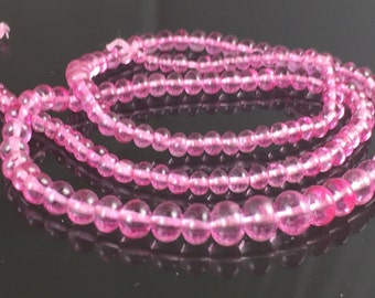 AAA Smooth Pink Topaz Faceted Rondelles 3mm - 5mm