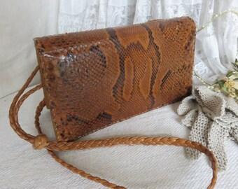 Truly Vintage French Snakeskin Leather Handbag, Gorgeous Vintage Bag, Vintage Accessory, Paris Chic Fashion, Brown Leather Purse 1940s