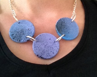 Painted wooden Necklace, Wooden necklace, Blue necklace, Wooden necklace, Handmade necklace,