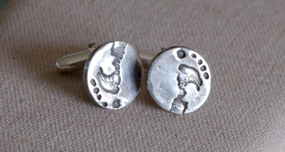 Fingerprint Jewelry - Footprint & handprint Cufflinks - Dad Gift