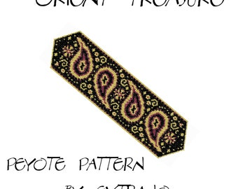 Peyote Bracelet Pattern - ORIENT TREASURE - 3 colors only - Instant download