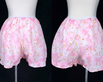 1950s Pink Floral Bloomers Granny Panties Sleep Shorts Pajamas Pantaloons Medium Large