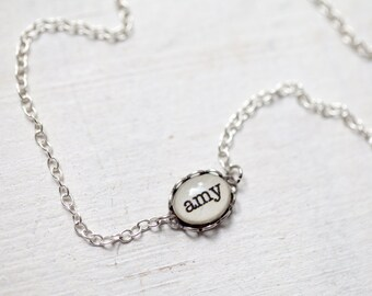 Custom name necklace - Personalized jewelry - Bridesmaid necklace - Tiny jewelry (N086)