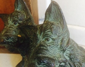 Antique Metal Terrier Dog Figurine - A Pair