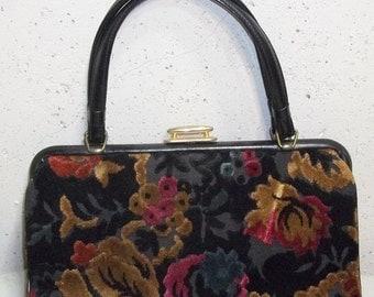 Spooktacular SALE Vintage Carpet Bag Purse Handbag Clutch Floral Flowers Tapestry