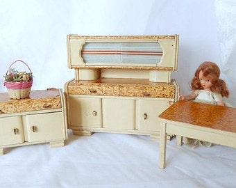 vintage doll furniture, doll kitchen, wooden hand made, 1950s, 3 pieces, vintage toys, home decor, collectible