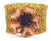 Copper Wild Rose Flower Beaded  Cuff - Wild Wild Rose