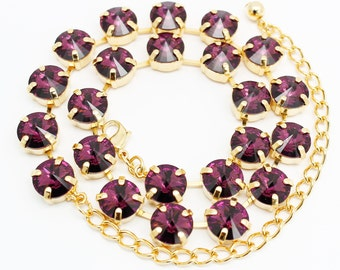 Amethyst Necklace Gold, Swarovski Eggplent Purple Jewelry, Swarovski Elements, Tennis Necklace, Bridal Bridesmaids Wedding Jewelry