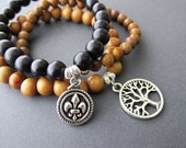 Tree of Life and Fleur De Lis Charm Bracelet set. Wood and Stone.